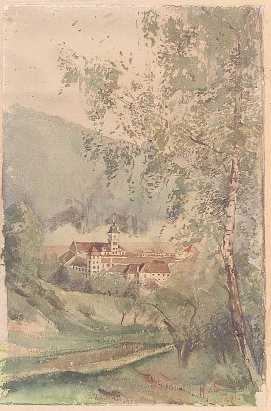 """Magda VON LERCH - Zeichnung Aquarell - """"Lilienfeld Monastery in Lower Austria"""""""