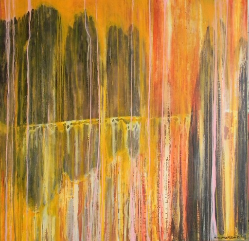 Tung-Wen MARGUE - Painting - Stoneforest in Orange