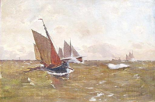 Carl BECKER - Pittura - Segelboote mit braunen Segeln