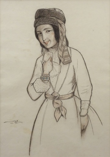 Meir GUR-ARIE - Drawing-Watercolor - Yemenite Woman