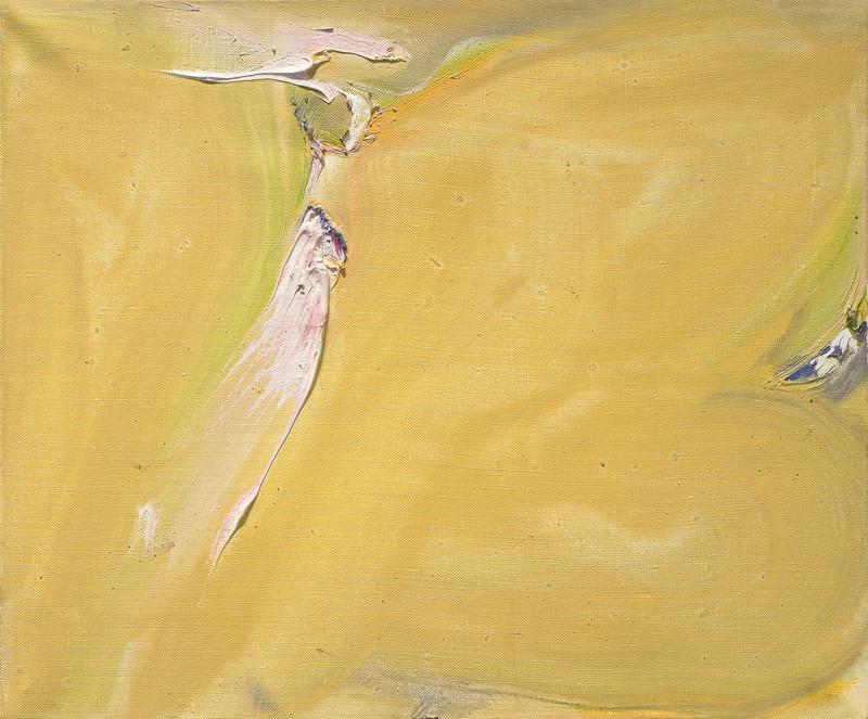 Olivier DEBRÉ - Painting - Petite ocre tache rose
