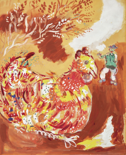 Marc CHAGALL - Dessin-Aquarelle - La poule aux oeufs d'or (Fables de La Fontaine)
