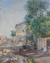 """Otto BOYER - Dibujo Acuarela - """"In Portofino near Genua"""", Watercolor"""
