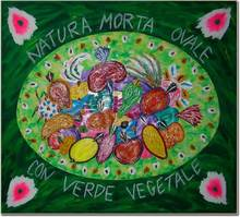 Bruno DONZELLI - Painting - Natura morta ovale con verde vegetale