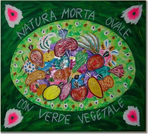 Bruno DONZELLI - Pintura - Natura morta ovale con verde vegetale