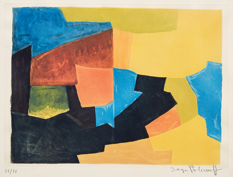 Serge POLIAKOFF - Stampa-Multiplo - Composition noire, jaune, bleue et rouge