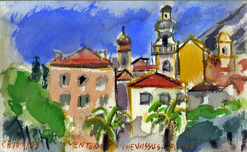 Jean-Pierre CHEVASSUS-AGNES - Peinture - vue de MENTON (Alpes Maritimes France ) les 3 clochers