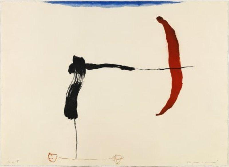 Joseph RIERA I ARAGO - Grabado - Avión negro y rojo en ángulo