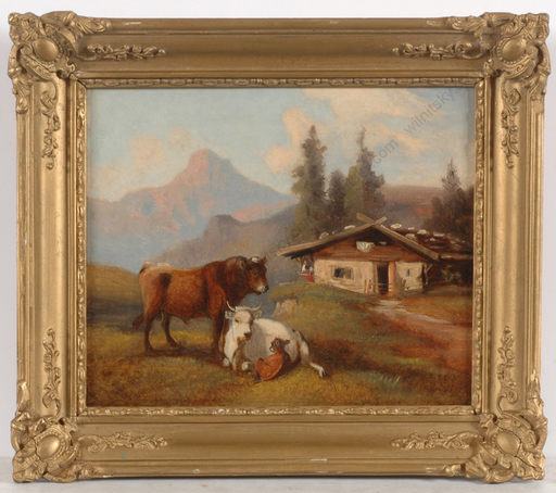 """Josef HEICKE - Peinture -  """"View of Dachstein with cows in foreground"""", oil on panel,"""