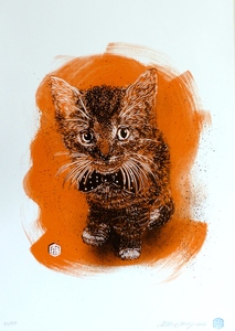 C215 - Estampe-Multiple - Charly caramel - orange