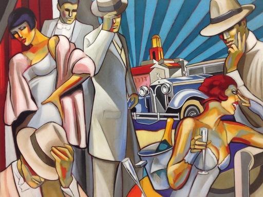Stéphane GISCLARD - Peinture - Soirée blanche à Saint-Tropez