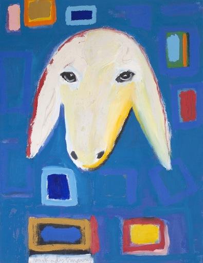 Menashe KADISHMAN - Painting - Sheep Portrait on Blue