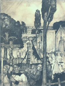 "Raymond DIERICKX - Drawing-Watercolor - ""LA GRANDE PROCESSION"""