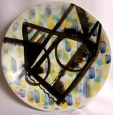 Mikhail LARIONOV - Ceramic - Display charger with a hand-painted portrait of Costakis