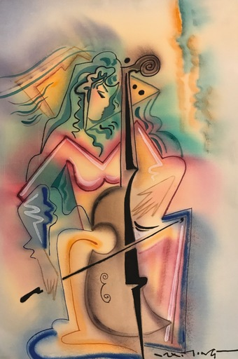 Mai LONG - Painting - Woman Playing Cello
