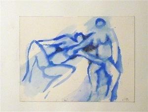 "Jean MONTCHOUGNY - Dibujo Acuarela - ""Nus bleus"""