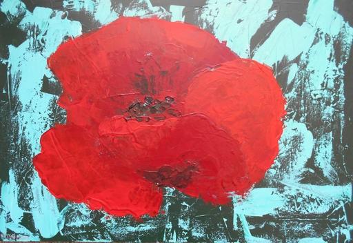 """Lillie PIRVELLIE - Pintura -  """"Manana"""" Red poppy, solo flower"""