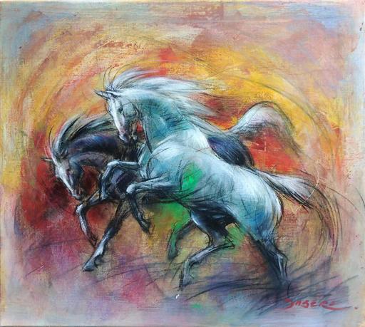 Pascal DABÈRE - Gemälde - Les Destriers