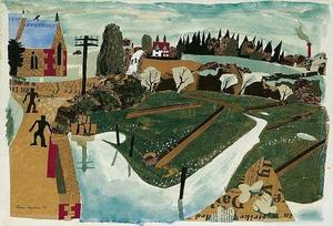 Julian TREVELYAN, Landscape with Church and Telegraph Pole