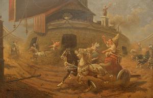 Adolf BAUMGARTNER-STOILOFF - Pittura - römisches Wagenrennen Circus Maximus, Russia, Italy,Roma