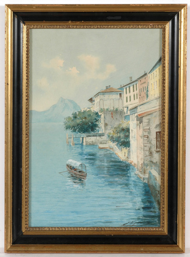 "Gaetano ESPOSITO - Drawing-Watercolor - Gaetano Esposito (1858-1911) ""Lake Como in Italy"" watercolor"