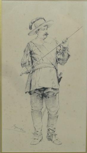Georges SAINT-LANNE - Drawing-Watercolor - le mousquetaire