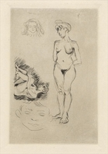 Henri MATISSE - Estampe-Multiple - Deux nus, deux têtes d'enfants