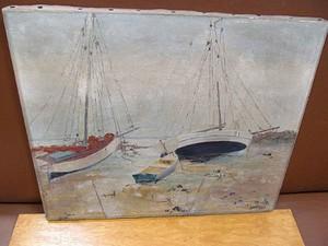 Eugène TABOURET - Pintura - Boote am Strand