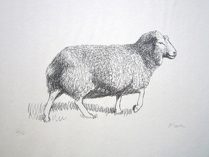 "Henry MOORE, ""Sheep Walking"" (Cramer 352)"