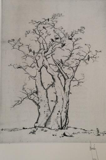Bernard LOUEDIN - Grabado - Deux arbres