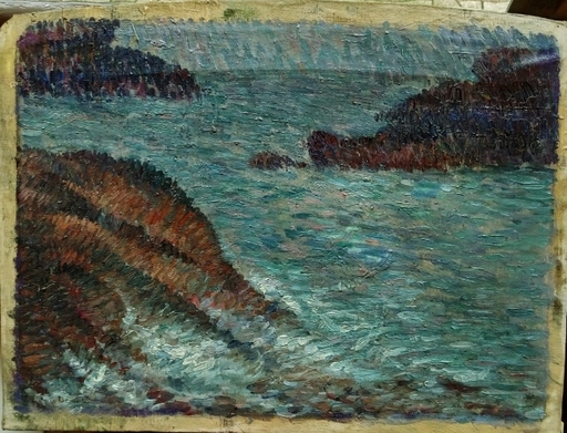 Ernest-Lucien BONNOTTE - Pittura - Côte bretonne circa 1900
