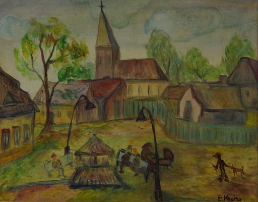 Emil KRCHA - Pintura - Landscape with Church