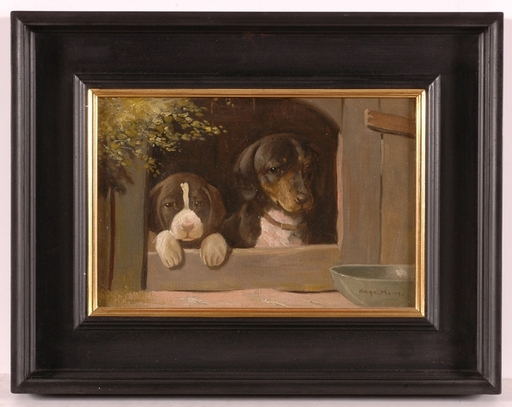 """Mark Osman CURTIS - Peinture - """"Dog Mother and her Puppy"""" , Oil"""