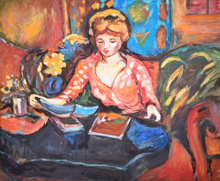 Pierre CORNU - Pintura - Untitled (Girl Studying)
