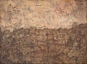 Jean DUBUFFET - Pittura - PAYSAGE AU CIEL ROUGEOYANT