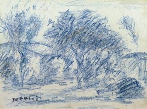 Ardengo SOFFICI - Zeichnung Aquarell - Paesaggio