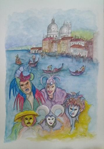 Romeo MESISCA - Disegno Acquarello - Carnevale a Venezia