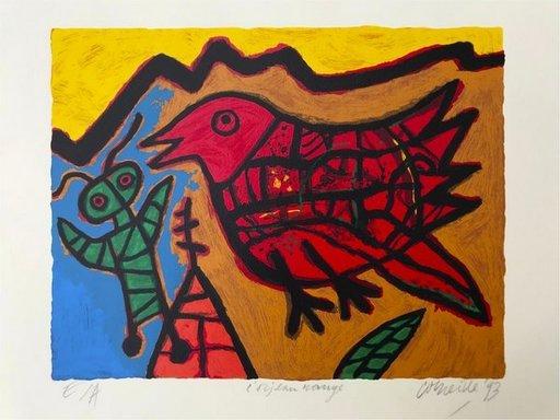 CORNEILLE - Estampe-Multiple - L'oiseau Rouge