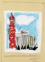 Ugo NESPOLO - Dessin-Aquarelle - Il minareto e tre colonne infrante