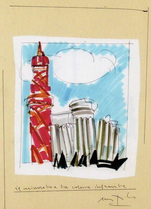 Ugo NESPOLO - Dibujo Acuarela - Il minareto e tre colonne infrante