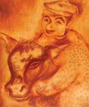 Issachar Ber RYBACK - Drawing-Watercolor - The Young Boy with Cow