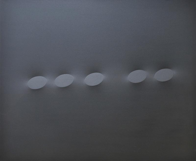 Turi SIMETI - Gemälde - Cinque ovali neri.