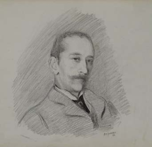 "Alonzo Myron KIMBALL - Zeichnung Aquarell - ""Portrait of a Gentleman"" by Alonzo Myron Kimball, (18)94"