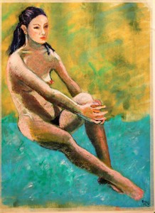R.CAVALIÉ - Dessin-Aquarelle - Sur un nuage à la Degas
