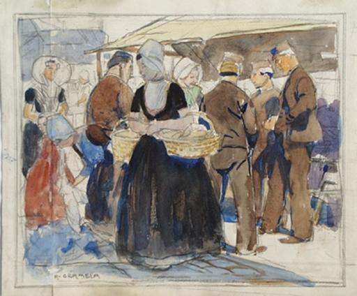 "Raimund GERMELA - Pintura - ""Market Scene in Holland"", 19th/20th Century"