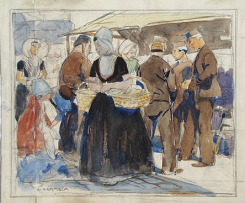 "Raimund GERMELA - Pittura - ""Market Scene in Holland"", 19th/20th Century"