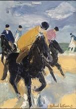 Roland LEFRANC - Painting - Cavaliers sur laplage