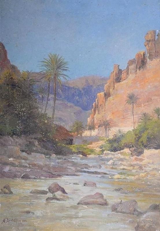 Alexis Auguste DELAHOGUE - Pintura - Gorges El Kantara - Algeria