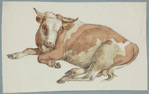 "Alexander Johann DALLINGER VON DALLING - 水彩作品 - ""Bull"", watercolor, early 19th century"