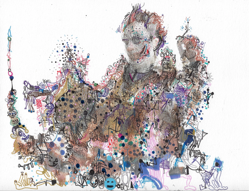 Michael ALAN - Drawing-Watercolor - Abstract Joker